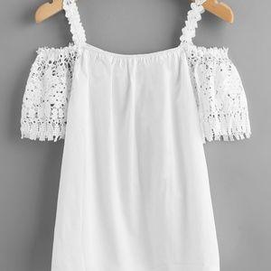 Tops - Guipure lace cold shoulder top
